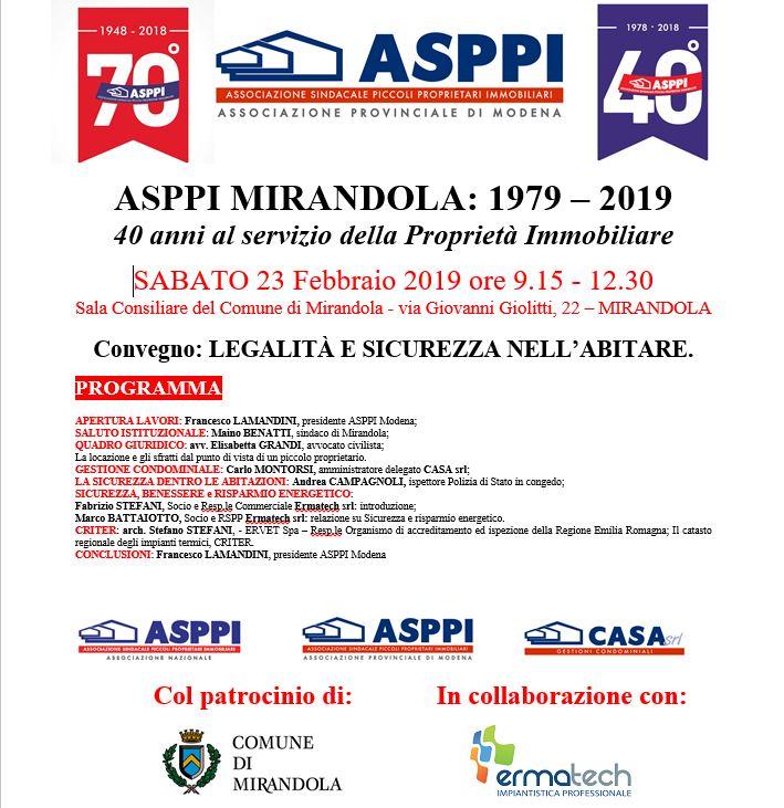 ASPPI MIRANDOLA:1979 – 2019.   40 anni al servizio della Proprietà Immobiliare