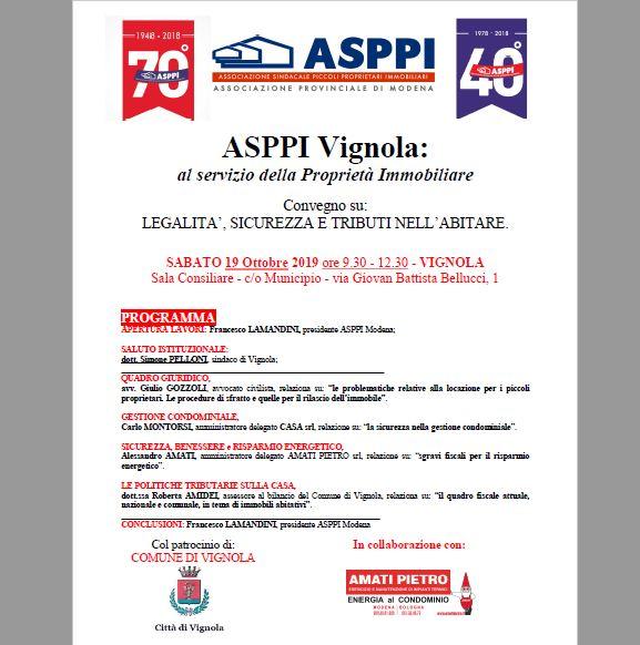 Asppi Vignola – Convegno su legalità, sicurezza e tributi nell'abitare.