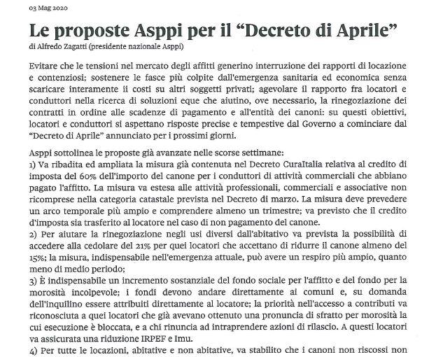 """Le proposte Asppi per il """"decreto di aprile"""""""