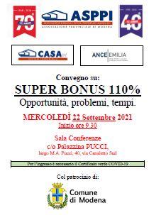 Convegno superbonus 110%: opportunità, problemi, tempi.